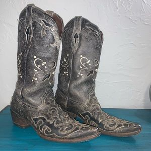 Pecos Bill Embroidered Rockabilly Cowboy Boots